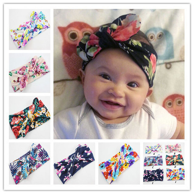 57639788439a Cute Baby Infant Girl Flower Printing Headband Bowknot Headwear Children  Headwraps Rabbit Ears Bow Elastic Hair Band 1pc HB009