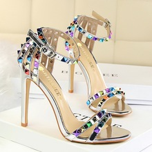 high heels 11cm women shoes sandals wedge summer Roman thin super high heel hollow color rivets sandalia feminina open toe heels mature temptation mysterious sexy fashion ultra high documentary shoes black roman style hollow out super high heels