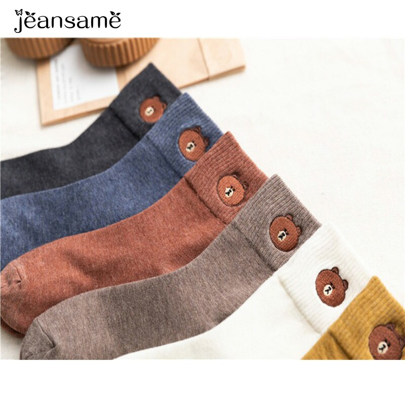 Cartoon Bear Embroidery Cotton Wild Trend Tube Casual Comfortable Deodorant Sweat Women Funny Socks Harajuku