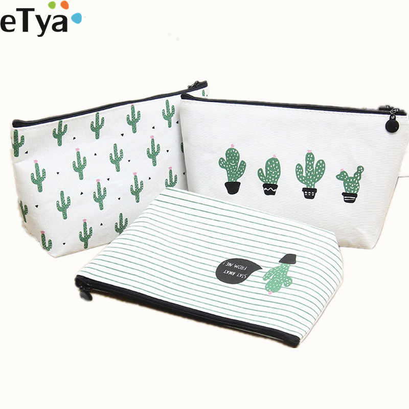 eTya Women Cosmetic Bag Travel New 2019 Fashion Printing Cactus Ladies Make Up Bags Toiletry Wash Organizer Case