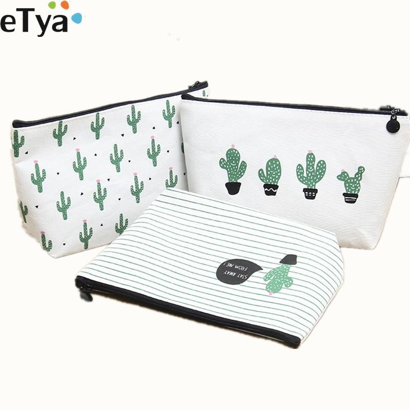 Bolsa de cosméticos eTya para mujer viaje F impresión Cactus señoras bolsas de maquillaje neceser maquillaje organizador bolsa