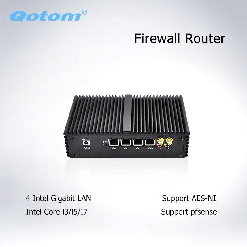 Qotom Mini PC 4 * Ethernet Lan Cor i7 i5 i3 Pfsense Firewall Mini Ordinateur Sans Ventilateur PC Serveur Informatique industrielle avec AES-NI