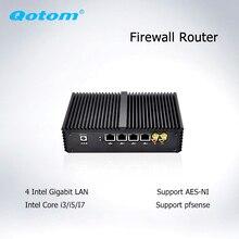 Qotom Мини ПК 4 * Ethernet Lan Cor i7 i5 i3 Pfsense межсетевой экран Мини компьютер безвентиляторный ПК сервер промышленный компьютер с AES-NI