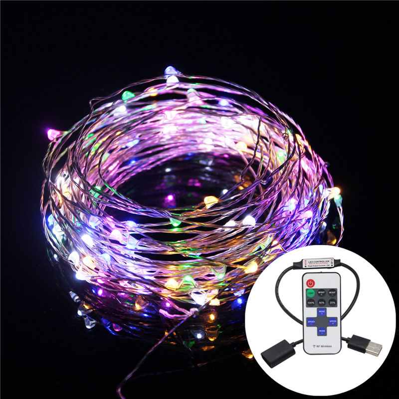 10M 33FT Copper Wire 5M USB 5V LED String Christmas Lights RGB LED Holiday Light With RF Controller For Christmas Decoration 10m 33ft 100 led 5v usb outdoor warm white rgb led copper wire string fairy lights christmas festival wedding party decoration