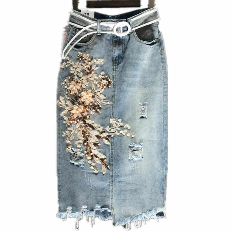 07811305c ... Summer Fashion Designer Women Embroidery Pearls Sequined Flower High  Waisted Denim Skirt , Irregular Long Jeans
