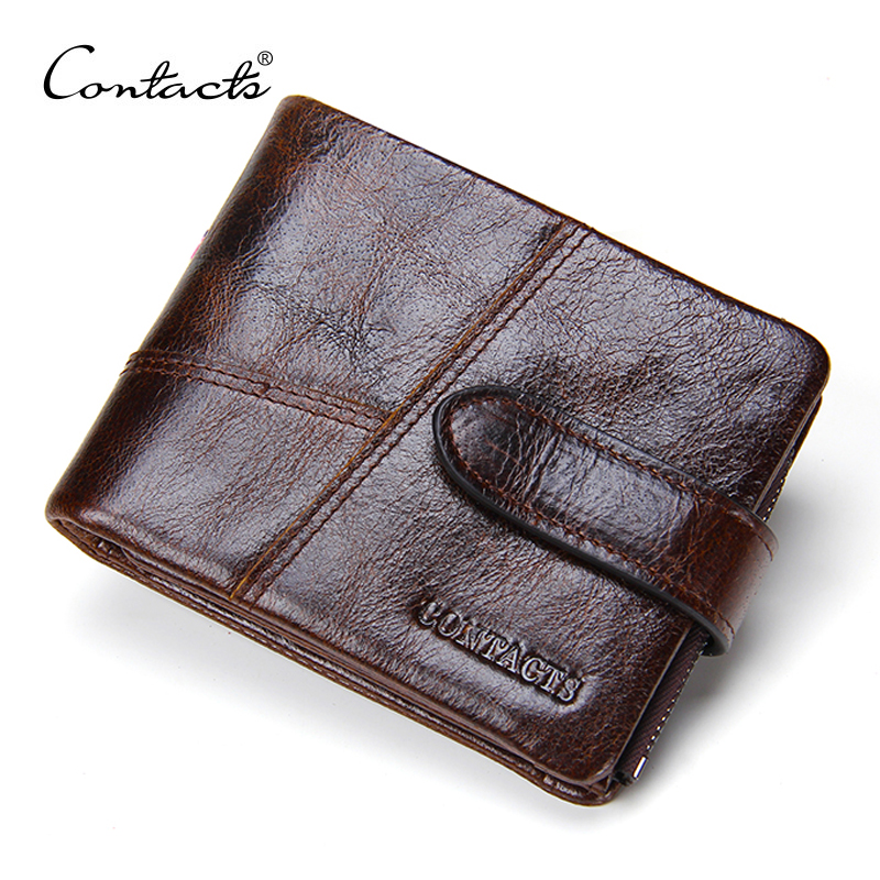 CONTACT'S Crazy Horse Cow Leather Men Wallets Short Wallet For Men Zipper Coin Purse With Card Holder Cuzdan Male Portmonee