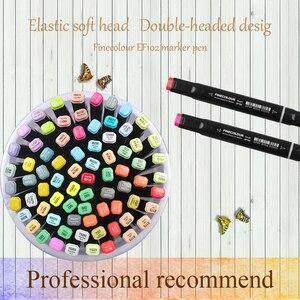 Image 5 - قلم تحديد احترافي لرسم اللوحات الفنية على شكل فرشاة ناعمة برأسين فاين كلور EF102