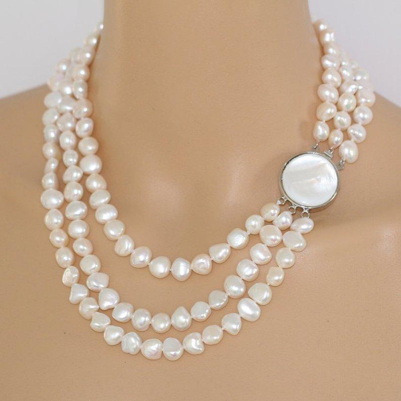 Einzigartige Perlen schmuck Shop, 18 20 inch Echt Perle Halskette, 8 9mm Weiß Barock Süßwasser Perle Halskette, Brautjungfern Mädchen Geschenk-in Halsketten aus Schmuck und Accessoires bei  Gruppe 1