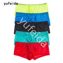 YUFEIDA 5PCS/Lot Sexy Underwear Men Mesh Boxer Shorts Suits Gay Fishnet Summer Sexy Transparent Men Underwear Boxers Cueca Boxer