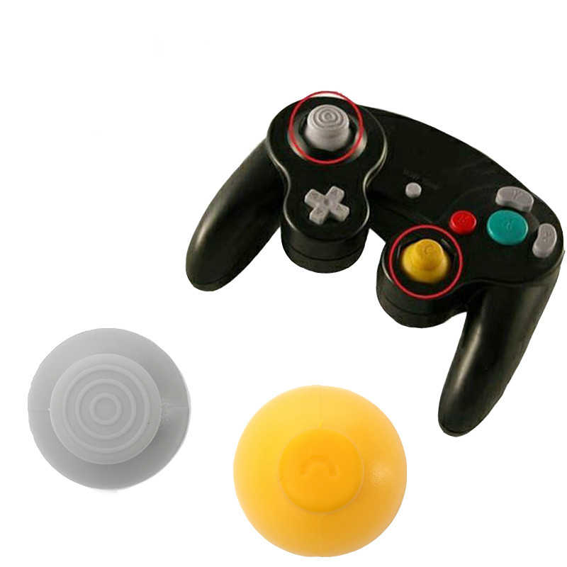 Nowy 1 zestaw 2 kolory wymiana przełącznik analogowy Thumbsticks uchwyty kciuk Joystick Cap dla NGC gamecube GC
