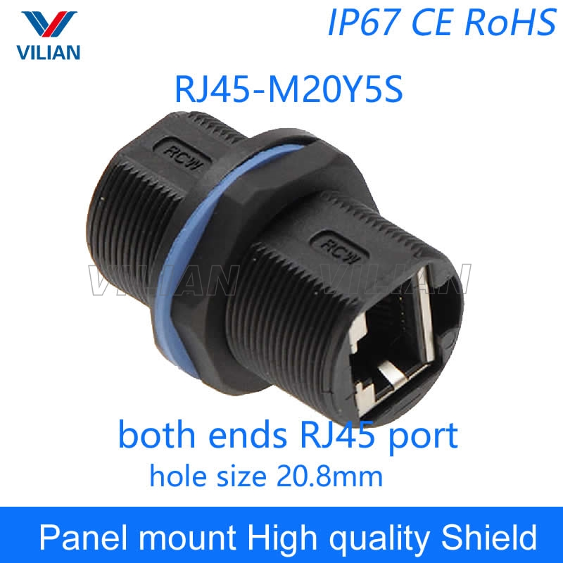 Grade A quality RJ45 shielded Panel Mount Connector AP box adapter Network cable extension socket Free Shipping 1unit