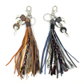 2017 new fashion car key chains lanyards Keys ring key finders feather keychains Leather tassel pendant bag rings bag chain