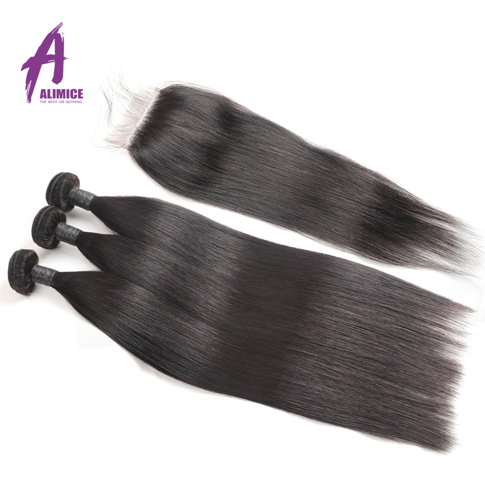 30 Inch Bundles With Closure Indian Straight Human Hair Bundles With Closure Alimice Long Hair Weave