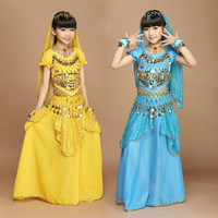 Children Belly Dancing Costume Kids Indian Dance Dress 6 Pcs Bollywood Dance Costumes For Girls Performance