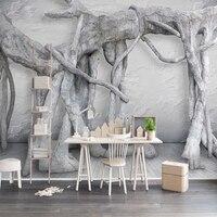 Özel Duvar Duvar Kağıdı Modern Basit 3D Sanat Siyah Ve Beyaz Orman Ağacı Oturma Odası TV Arka Plan Dekor Duvar Kağıdı Boyama