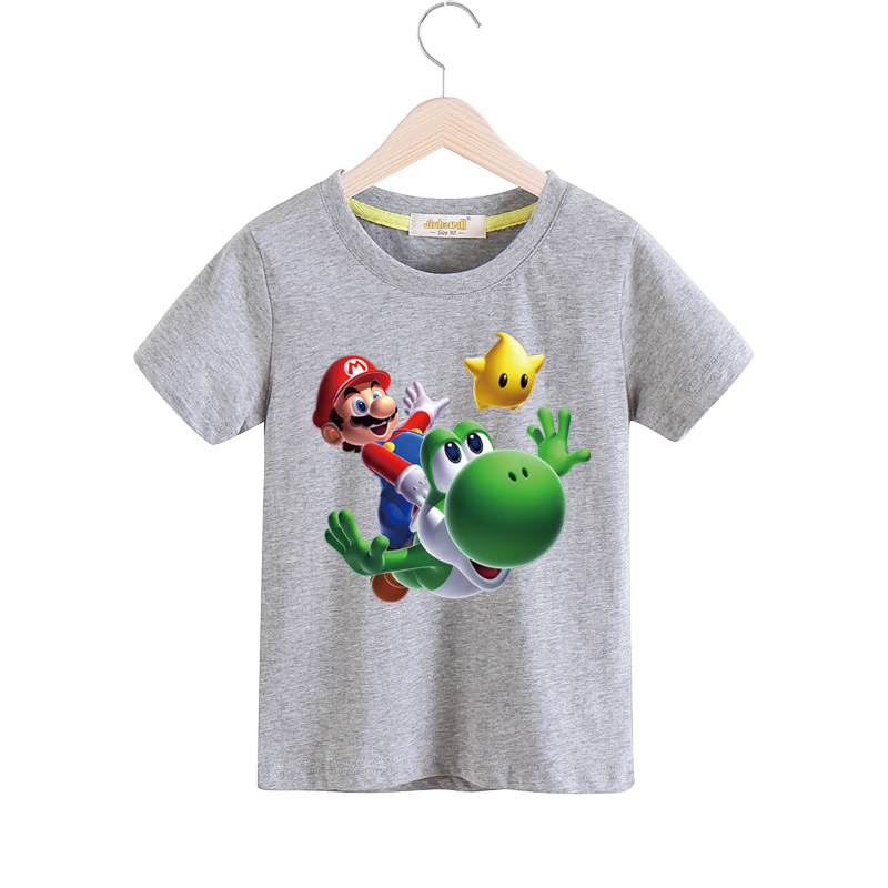 2018 Boy Girls 100%Cotton Short Sleeves T Shirt Children Cartoon 3D Mario Print Tee Tops Clothes For Kids T-shirt Costume TX032 3d florals print cover placket shirt