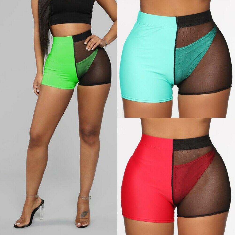 Women See Through Hot Pants Transparent Shorts Mesh Sheer Mesh Underwear Bikinis