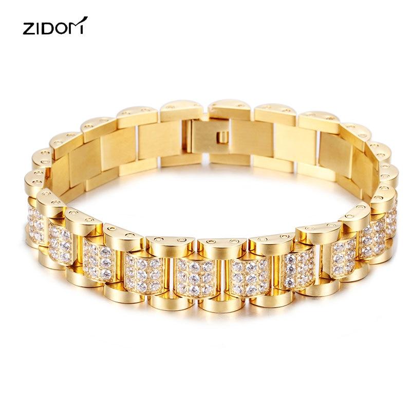 high quality 316L Stainless Steel with CZ AAA zircon Men bracelets fashion simple luxury watchband bracelet