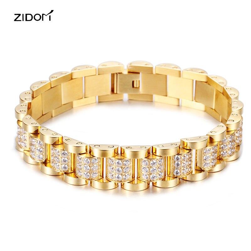 Haute qualité 316L En Acier Inoxydable avec CZ AAA zircon Hommes bracelets mode simple luxe bracelet hommes bijoux cadeaux-in Bracelets ficelle et chaîne from Bijoux et Accessoires    1