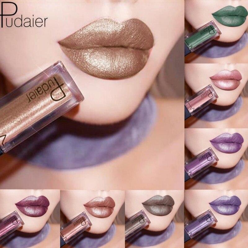 Fashion Women Pudaier Metallic Lipstick Lips Makeup Long Las