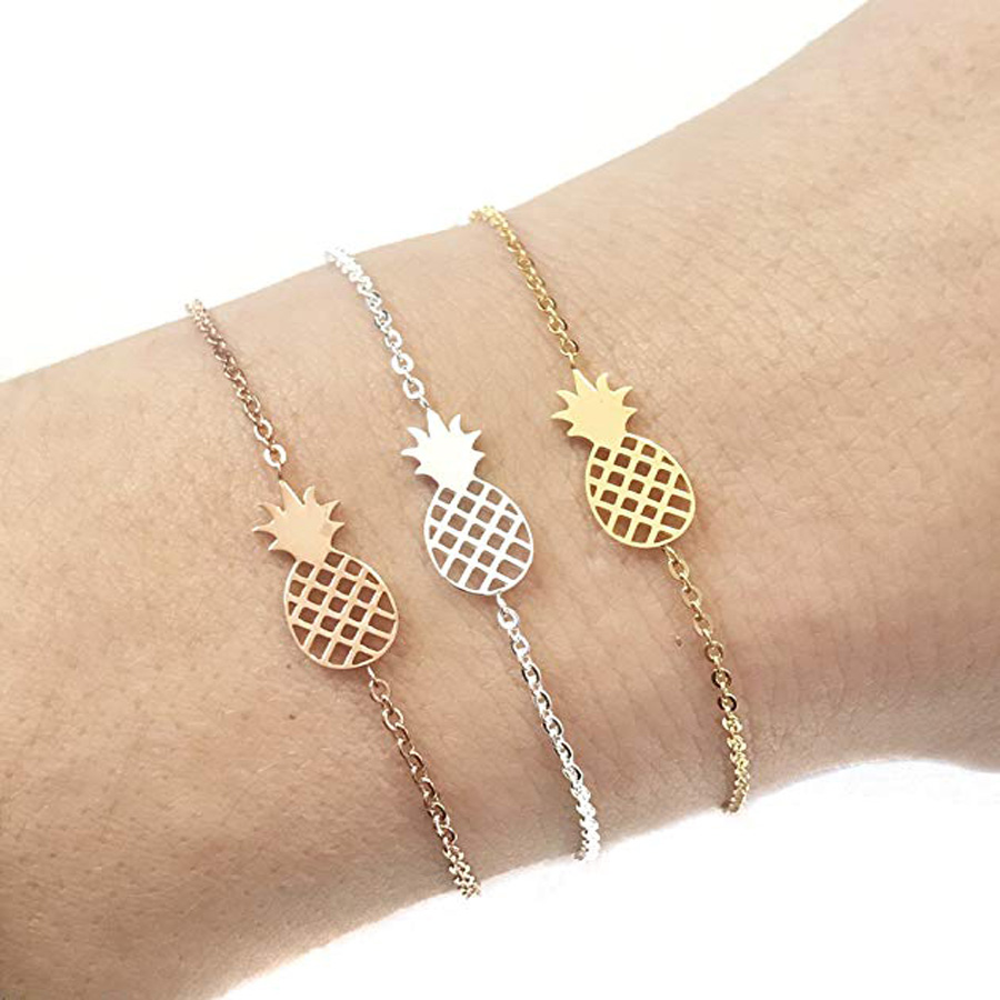PINEAPPLE metal Snap button charm link chain bracelet gifts for women