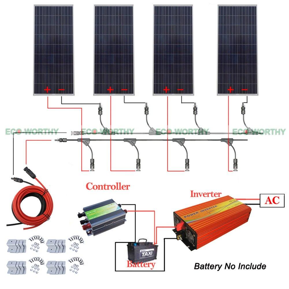 4x150W 600W 12V off Grid Solar System w/ 220V Inverter for Household Boat RV rv 523 фигурка прораб w stratford