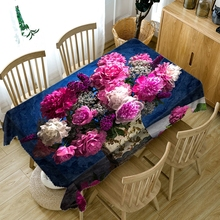 Korean style Polyester 3d Round Tablecloth Purple Potted Flowers Pattern Thicken  Cotton Rectangular Table cloth Wedding Decor