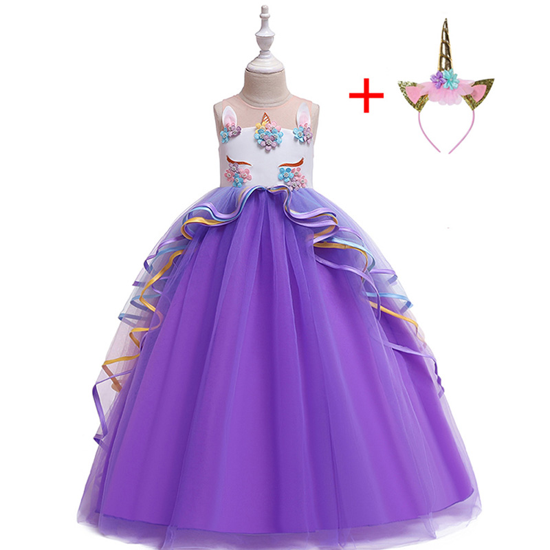 HTB1lPEfX4D1gK0jSZFKq6AJrVXa6 New Unicorn Dress for Girls Embroidery Ball Gown Baby Girl Princess Birthday Dresses for Party Costumes Children Clothing