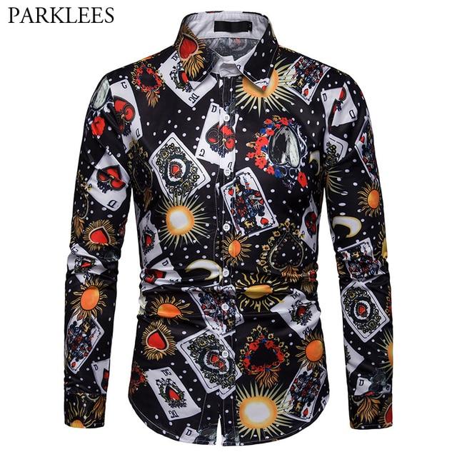 a3a451c5aea1 3D Space Galaxy Poker Print Shirt Men 2019 Luxury Brand Long Sleeve Shirt  Men Stage Singer
