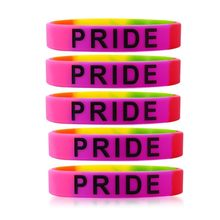 Gay Pride Rainbow LGBT Silicone Bracelet 5 pack Unisex Friendship Sport Rubber Wristbands Jewelry(China)