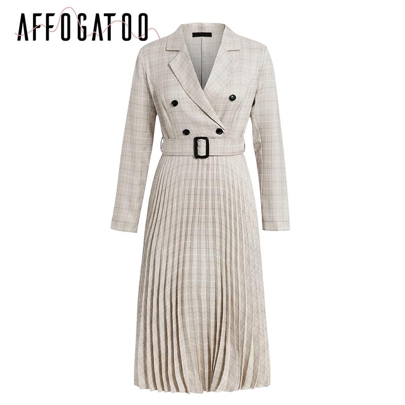 Affogatoo Elegant button belt Plaid women blazer dress Sexy v-neck pleated office ladies dress Long sleeve female party dresses 15