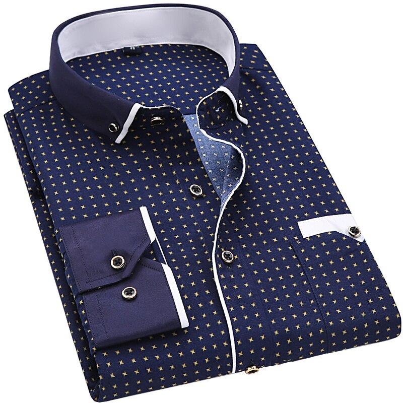 Stampa di modo Casual Uomini Camicia A Maniche Lunghe Cuciture Tasca di Modo di Disegno Tessuto Morbida E Confortevole Uomo Vestito Slim Fit Style