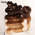 Clearance Sale!!Virgin 7A Malaysian Ombre 3 tone body wave virgin hair 6pcs with a gift closure 205g/lot,ombre human hair weaves