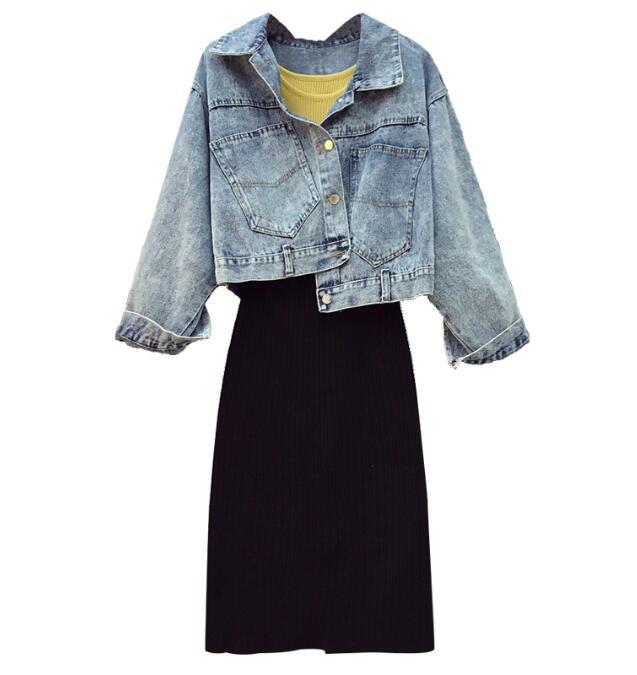 Tricoté Vêtements Femmes Veste Gilet Bf Denim Jupe Automne 3 Split Jupes Haute Bleu Rue Pièce Tricot Costume Ensemble Mince Étudiants Taille Zdw41fq4