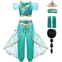 Костюм принцессы жасмин вечерние нарядное платье принцессы, комплект одежды, топ и штаны повязка на голову, детский костюм Аладдина с волшебной лампой