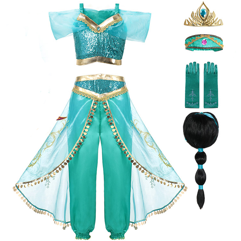 Girls Princess Jasmine Costume Party Princess Dress Fancy Clothing Set Top Pants Headband Child Aladdin The Magic Lamp Costume