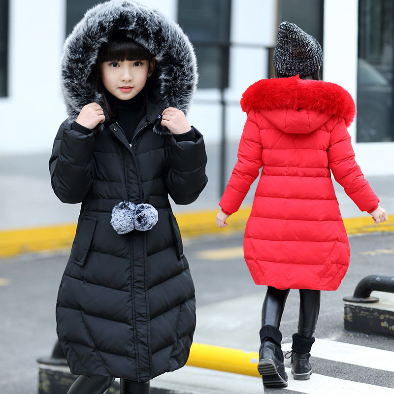 цена 2018 Girls Winter Jackets Kids Warm Cotton-padded Coats For Girls Children Hooded Fur Collar Parkas Long And Thickened Outerwear