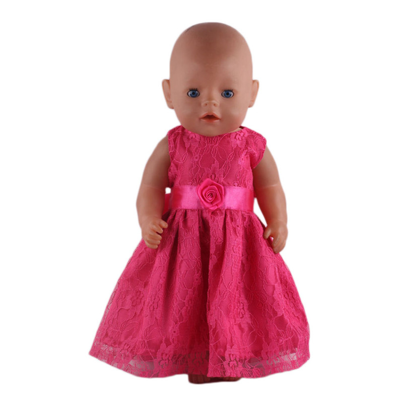 Fleta Baby Born Doll Watermelon red lace princess skirt Fit 43cm Zapf Baby Born Dolls Clothes Girl n458 zapf baby born doll clothes 15 styles bowknot princess skirt dress fit 43cm zapf baby born doll accessories girl gift x 171