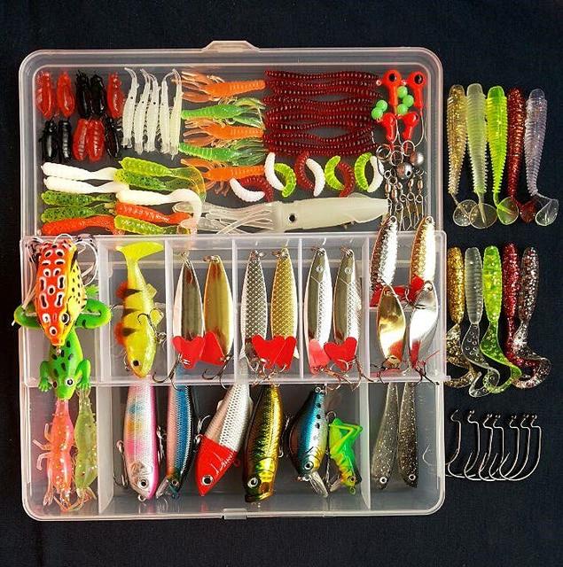 Hot New Multi Fishing Lure Mixed Colors Plastic Metal Bait Soft Lure Kit Fishing Tackle Wobbler Spoon Pesca Peche Artificias 2