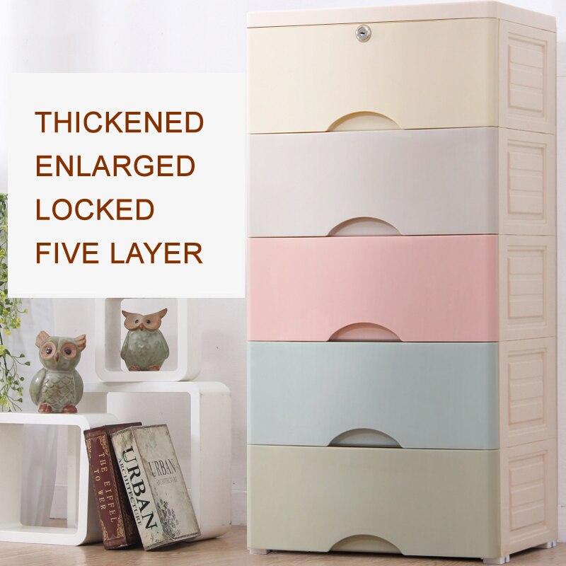 Cinq couches boîte tiroir en plastique multi couche tiroir type collection armoire bébé placard jouet vêtements tri boîte tiroirs de rangement - 2