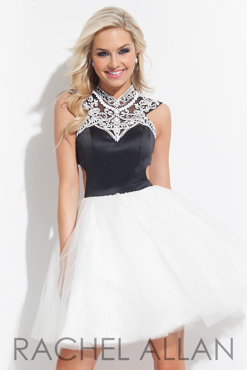 White And Black A Line High Neck Ball Gown Size 16 Homecoming