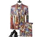 (Куртка + брюки + рубашка) мужской костюм осень зима новый прилив бренд моды взлетно-посадочной полосы пальто цифровая печать три костюм личность