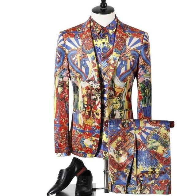(Jacket + pant + shirt) traje masculino otoño invierno nueva marea marca de moda escudo runway impresión digital tres piezas traje de personalidad