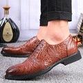 Estilo britânico de Couro de Jacaré Dos Homens Se Vestem Sapatos Sapatos de Negócios de Moda Para O Homem casual oxford shoes zapatillas hombre 38-43 WS97