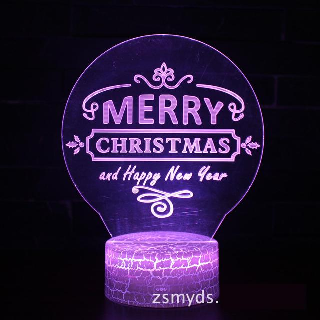 New Christmas Card 3d Small Lamp Creative Seven Color Remote-control Touch Visual Led Night Light Novelty Kids Lamp