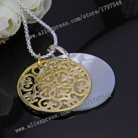 Thomas Ornament and Mother of pearl Disc Pendant Necklace, European Glamour Style Jewelry for Women TS N411