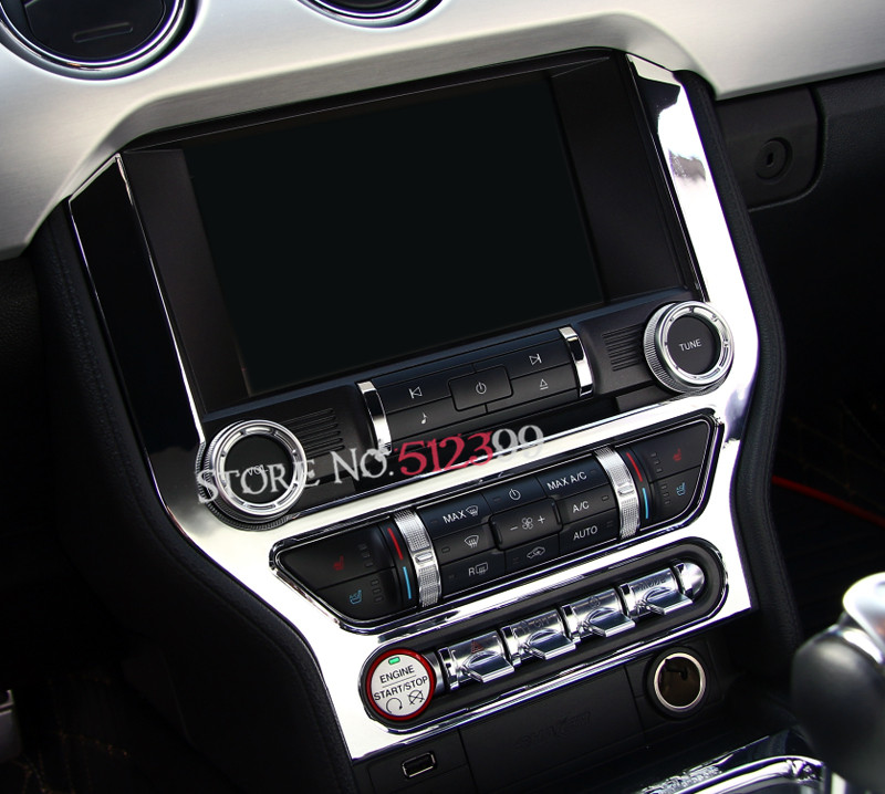 Blue /Red/ Silver/Chrome ABS Interior Middle GPS Dashboard Console Panel Frame Cover Car-styling For Ford Mustang 2015 2016 2017 цена