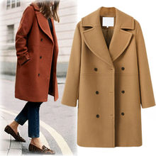 2018 Autumn and Winter Europe and Large Size Women's Wool Coat Women's Long Windbreaker Caot(China)