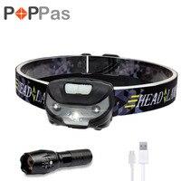 POPPAS USB Rechargeable Headlamp 5w Led Light Running Waterproof Camping Outdoor Walking Reading Led Light Head