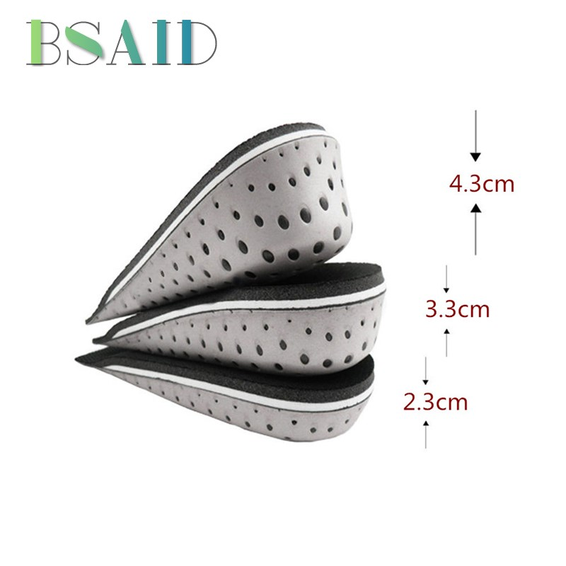 BSAID 1 Pair 2.3/3.3/4.3cm Rubber Height Increase Insoles, Lift Rubber Inserts Shoe Pad, Memory Foam Soft Cushion For Men Women все цены